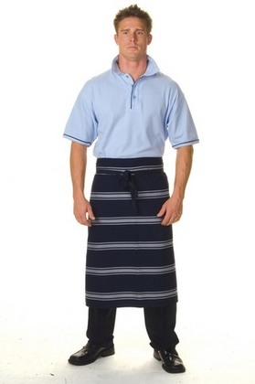 Promotional Product Blue & White Stripe 3/4 Apron-No Pocket