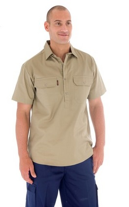 Promotional Product Cotton Drill Close Front Work Shirt- S/S
