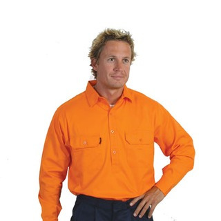 Promotional Product HiVis Close Front Cotton Drill Shirt, L/S, Gusset Sleeve