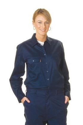 Promotional Product Ladies Cotton Drill Work Shirt, L/S