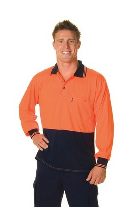 Promotional Product HiVis Two Tone Fluoro Polo Shirt, Micromesh, L/S