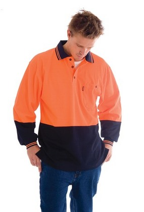 Promotional Product Cotton Back HiVis Two Tone Fluoro Polo Shirt, L/S