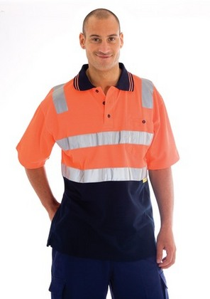 Promotional Product Cotton Back HiVis Two Tone Polo Shirts with 3M8910 R/Tape, S/S