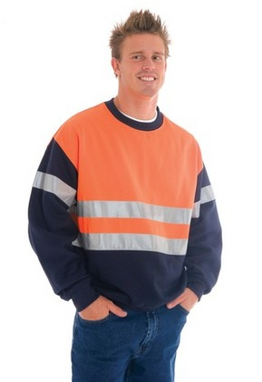 Promotional Product HiVis Two Tone Sweatshirt (Sloppy Joe) whti 3M8910 R/Tape, Crew Neck