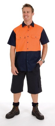 Promotional Product HiVis Two Tone Cotton Drill Shirt, S/S
