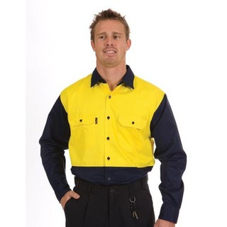 Promotional Product HiVis Two Tone Cotton Drill Shirt, L/S