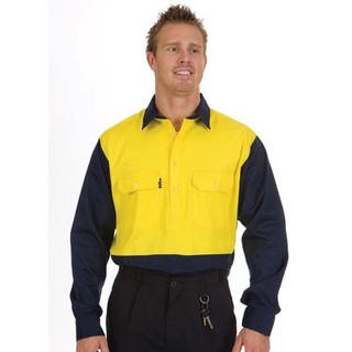 Promotional Product HiVis Two Tone Close Front Cotton Drill Shirt, L/S, Gusset Sleeve