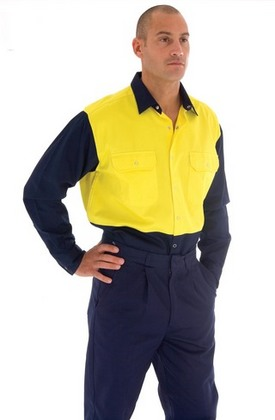Promotional Product HiVis Two Tone Drill Shirt With Press Stud