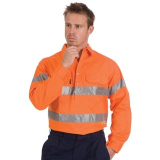 Promotional Product HiVis Close Front Cotton Drill Shirt with 3M8910 R/Tape, L/S, Gusset Sleeve
