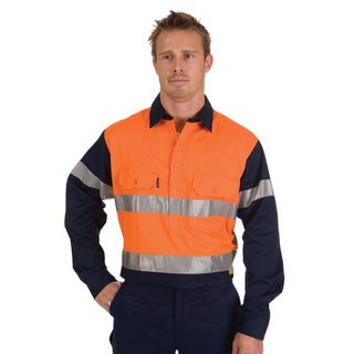 Promotional Product HiVis Two Tone Close Front Cotton Drill Shirt with 3M8910 R/Tape, L/S, Gusset Sleeve