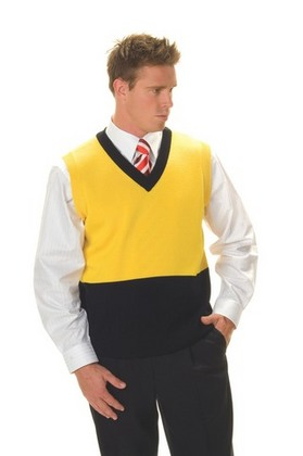 Promotional Product HiVis Two Tone V-Neck Pullover Vest. 50% Wool, 50% Acrylic