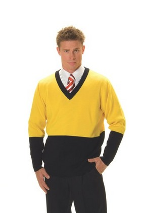 Promotional Product HiVis Two Tone V-Neck Pullover Jumper. 50% Wool, 50% Acrylic