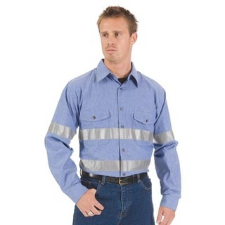 Promotional Product Day/Night Cool Breeze Chambray Shirt, L/S, 3M8910 Tape