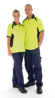 Promotional Product HiVis Cool-Breeze Contrast Mesh Panel Polo Shirt, S/S