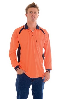 Promotional Product HiVis Cool-Breeze Contrast Mesh Panel Polo Shirt, L/S