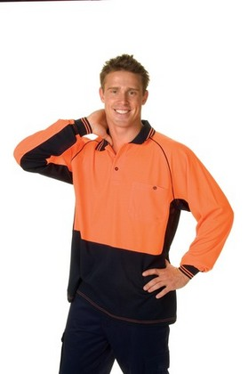 Promotional Product HiVis Two Tone Cotton Back Cool-Breeze Side Mesh Polo, L/S