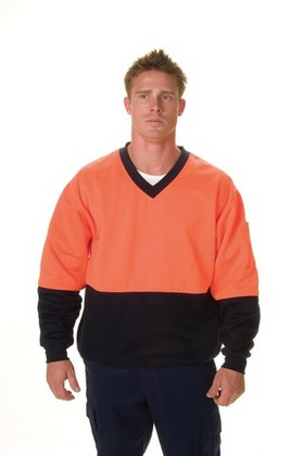 Promotional Product HiVis Two Tone Cotton Fleecy Sweat Shirt, V-Neck