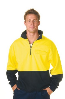 Promotional Product HiVis Two Tone Cotton Fleecy Sweat Shirt with 3M8710 R/Tape, V-Neck