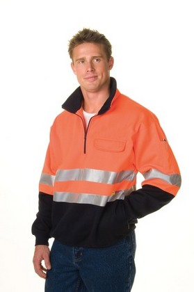 Promotional Product HiVis Two Tone 1/2 Zip Cotton Fleecy  Wincheater with 3M8710 R/Tape