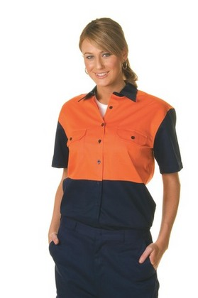 Promotional Product Ladies HiVis Two Tone Cotton Drill Shirt, S/S