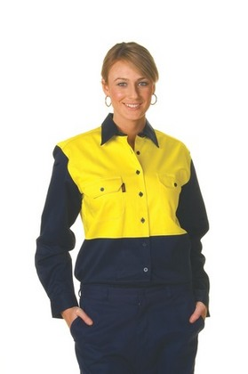 Promotional Product Ladies HiVis Two Tone Cotton Drill Shirt, L/S