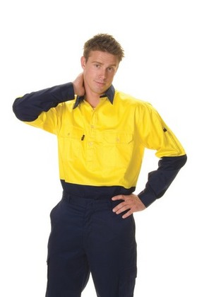 Promotional Product HiVis  Two Tone Cool-Breeze Close Front Cotton Shirt , L/S, Gusset Sleeve