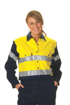 Promotional Product Ladies HiVis Two Tone Cotton Drill Shirt with 3M8910 R/Tape, L/S
