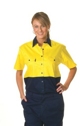 Promotional Product Ladies HiVis Two Tone Cool-Breeze Cotton Drill Shirt, S/S