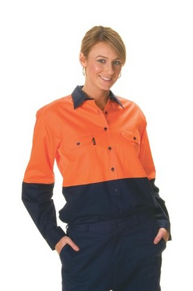 Promotional Product Ladies HiVis Two Tone Cool-Breeze Cotton Drill Shirt, L/S
