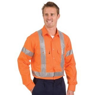 Promotional Product HiVis Cool-Breeze Cotton Shirt with Cross Back 3M8910 R/Tape, L/S