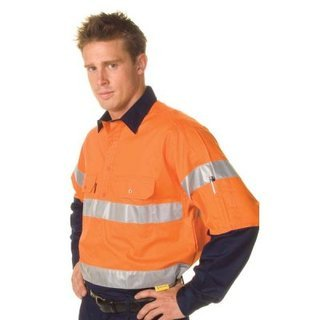Promotional Product HiVis Cool-Breeze Close Front Cotton Shirt  with 3M8910 R/Tape, L/S, Gusset Sleeve