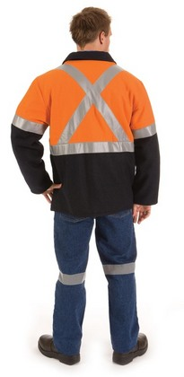 Promotional Product HiVis Two Tone Alpine Bluey Jacket with Cross Back 3M8906 R/Tape