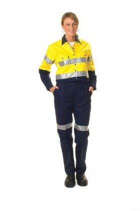 Promotional Product Ladies HiVis Two Tone Cool-Breeze Cotton Drill Shirt with 3M8910 R/Tape, L/S