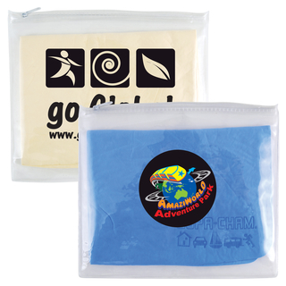 Promotional Product Supa Cham Chamois/Body Towel In Pvc Zippered Pouch