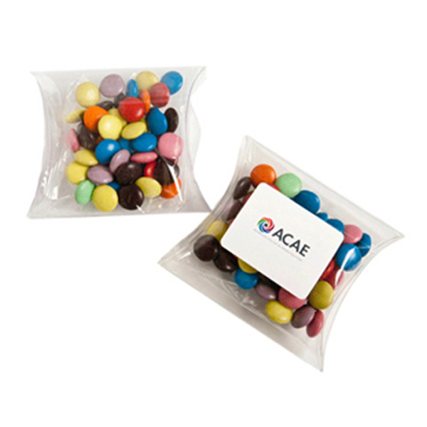 Promotional Product Choc Beans in PVC Pillow Pack 50G