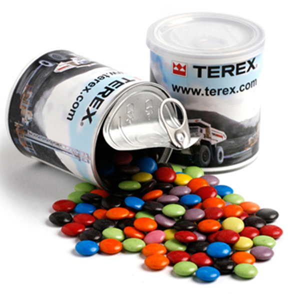 Promotional Product Choc Beans packed in a cello bag placed in the Pull Can