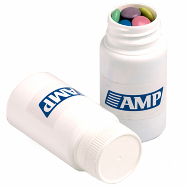 Promotional Product Pill Jar Filled with Choc Beans 120G