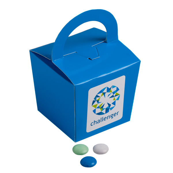 Promotional Product Coloured Noodle Box Filled with Choc Beans 100G