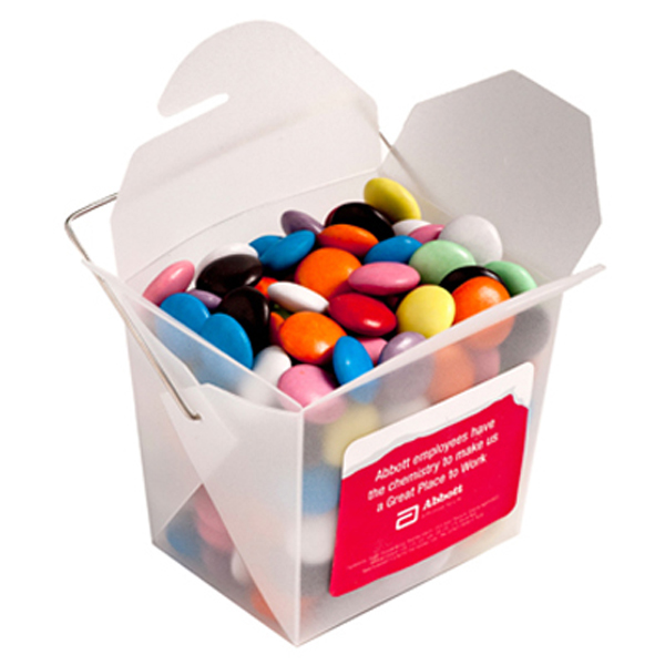 Promotional Product Frosted PP Noodle Box Filled with Choc Beans (Smartie Look Alike) 100G
