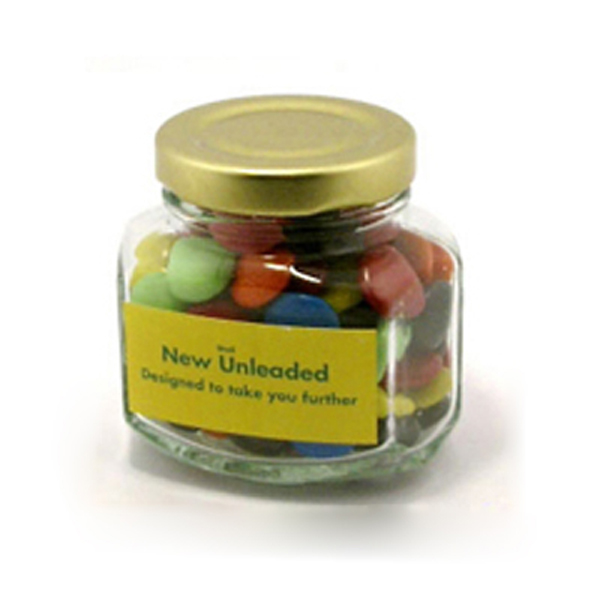 Promotional Product Choc Beans in Squexagonal Jar 90G
