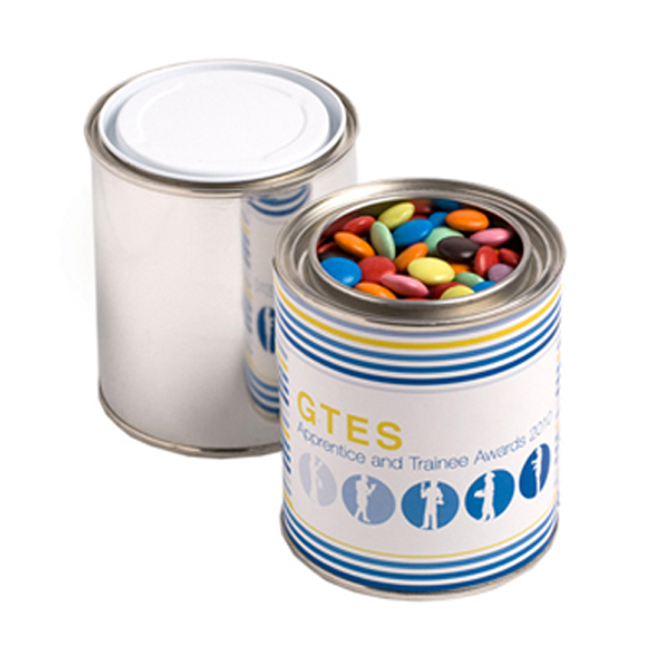 Promotional Product Paint Tin Filled with Choc Beans 250G