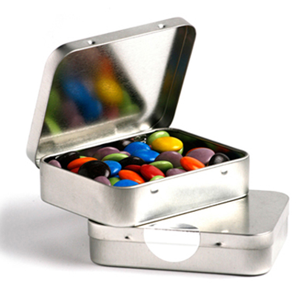 Promotional Product Rectangle Hinge Tin Filled with Choc Beans 65G
