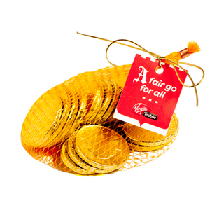 Promotional Product 80G Mixed Chocolate Coins Bag with Gold Elastic Ribbon Tied in A Bow
