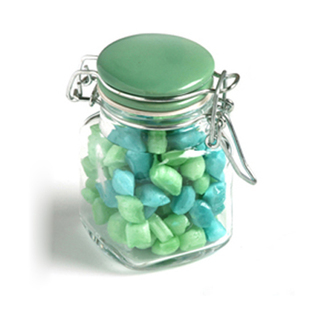 Promotional Product 80gm Corporate Coloured Humbugs in Clip Lock Jar