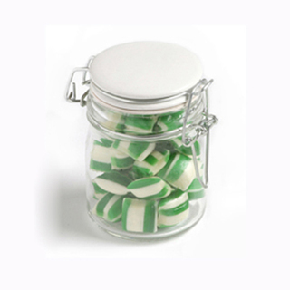 Promotional Product Corporate Coloured Humbugs in Medium Clip Lock Jar 150g