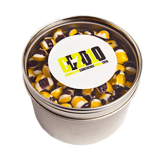 Promotional Product 100gm Small Round Acrylic Window Tin Fillled with Tiny Humbugs