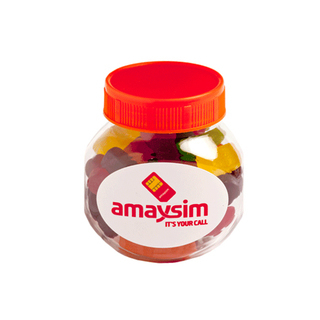 Promotional Product 135gm Plastic Jar Filled with Jelly Babies