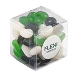 Promotional Product 60gm Jelly Beans in Cube (Corp Coloured or Mixed Coloured Jelly Beans)
