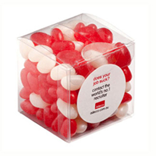 Promotional Product 110gm Jelly Beans in Cube (Corp Coloured or Mixed Coloured Jelly Beans)