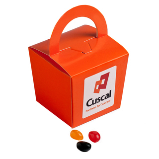 Promotional Product 100gm Coloured Noodle Box Filled with Jelly Beans  (Mixed Colours or Corporate Colours)